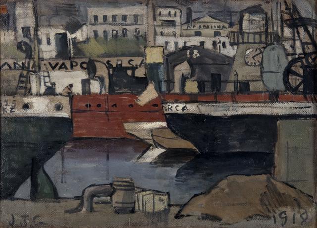 Joaquín Torres-García, 'Puerto de Barcelona', 1918, Painting, Oil on cardboard, Galería de las Misiones