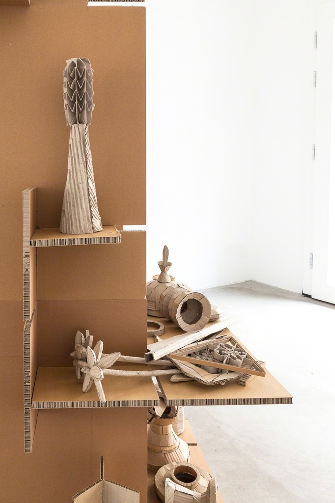 "exhibition view Selma Weber: ""Collection"", 2018, cardboard-pottery on shelf, 170 x 116 cm and (left) 