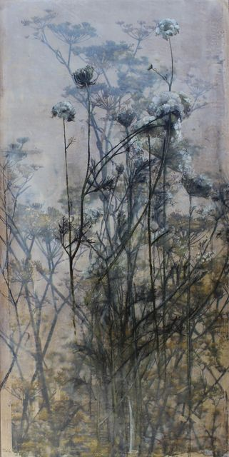 Diana Majumdar, 'Queen Anne Lace', 2017, Mixed Media, Photo transfer on wood, encaustic oil painting, Seager Gray Gallery