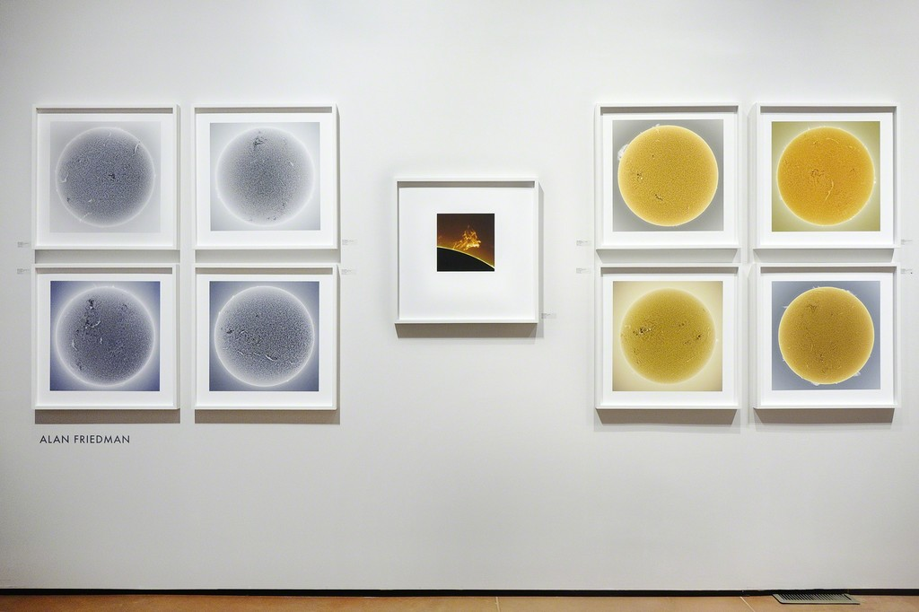 Alan Friedman's Sun images; installed at photo-eye Gallery as a part of FIRE AND ICE.