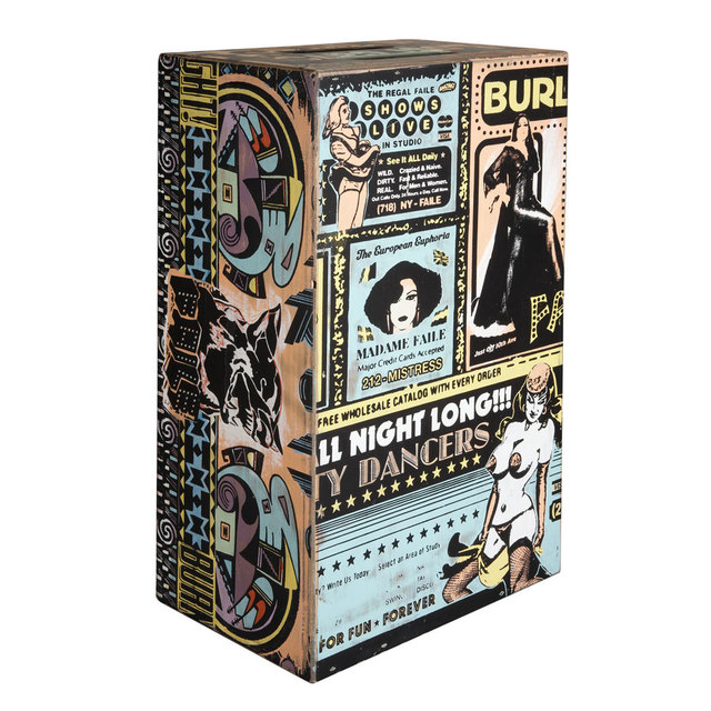 FAILE, ' Untitled (Summer 09, Box 17)', 2009, Sculpture, Acrylic and silkscreen on wood box, Helicline Fine Art