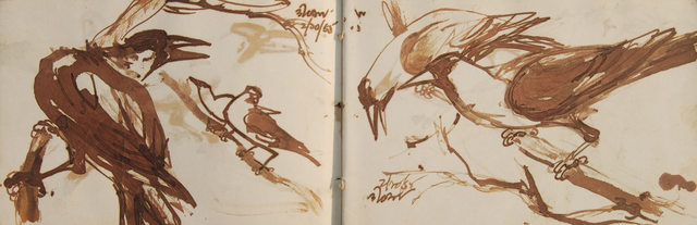 , 'Rare Collectible, set of 15 drawings, Indian Crows by Bengal School Artist Dipen Bose, student of Debi Prasad Roy Chowdhury,' 1961-65, Gallery Kolkata