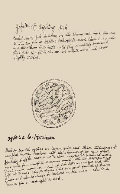 Andy Warhol, 'Gefulte of Fighting Fish, Oysters a la Harriman', 1959, Woodward Gallery