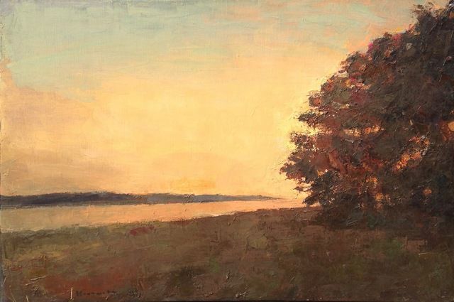 , '''Bend in the Trail Sepia'' Oil painting of landscape with tree in the corner with yellow and orange sunset,' 2019, Eisenhauer Gallery