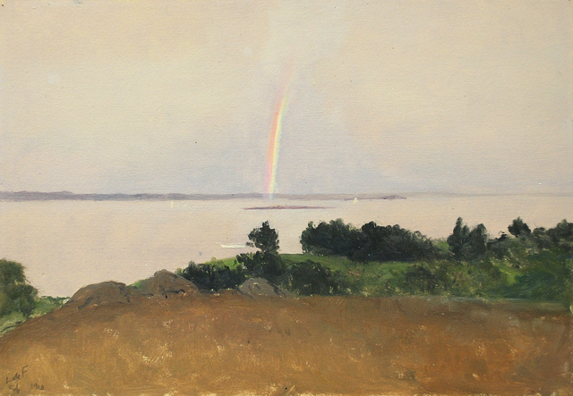 , 'Carmel Bay, Pebble Beach Overlook with Rainbow,' 1910, Sullivan Goss