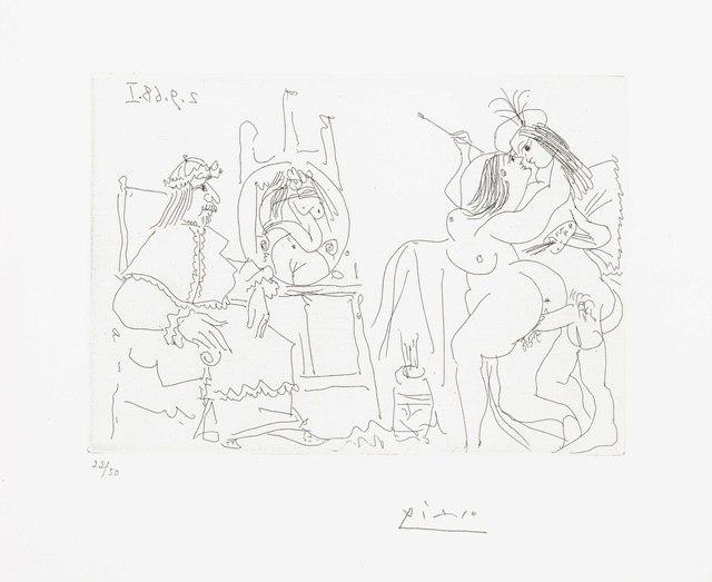 Pablo Picasso, 'Raphaël et la Fornarina. X: le Pape a fait apporter son fauteuil, from La Série 347', 1968, Print, Etching, on Rives BFK paper, Christie's