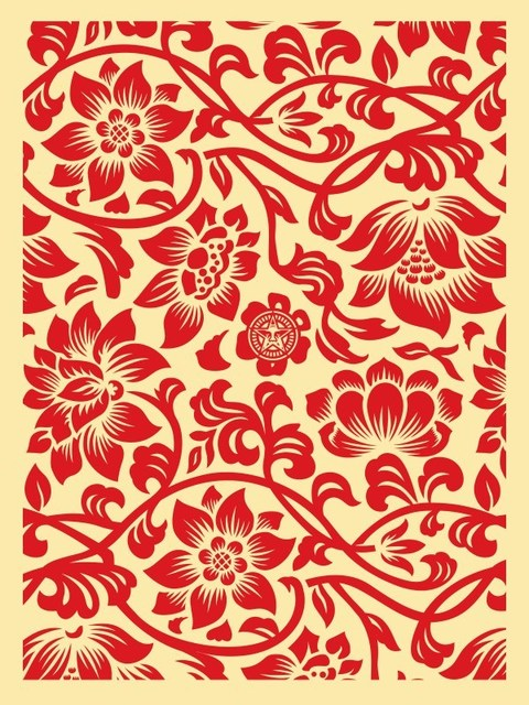 Shepard Fairey (OBEY), 'Floral Takeover (Red/Cream)', 2017, Dope! Gallery