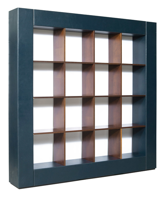 'Pierluigi Molinari Leather and Walnut Veneered Loop Bookcase for Pace Collection', Design/Decorative Art, Doyle