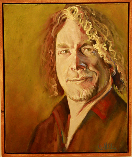"""""""Portrait in Green"""" by Dave Hardin.  Oil on Canvas. 17.5"""" x 23.5"""""""