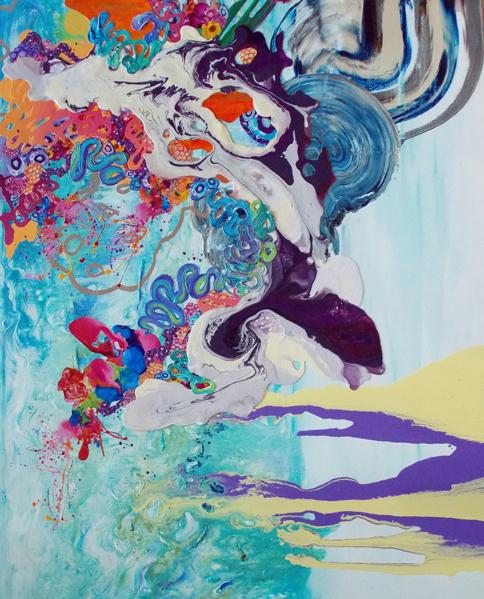 "Kimber Berry | ""La Vita Bella"" | Mixed Media on Canvas | 60"" x 48"""