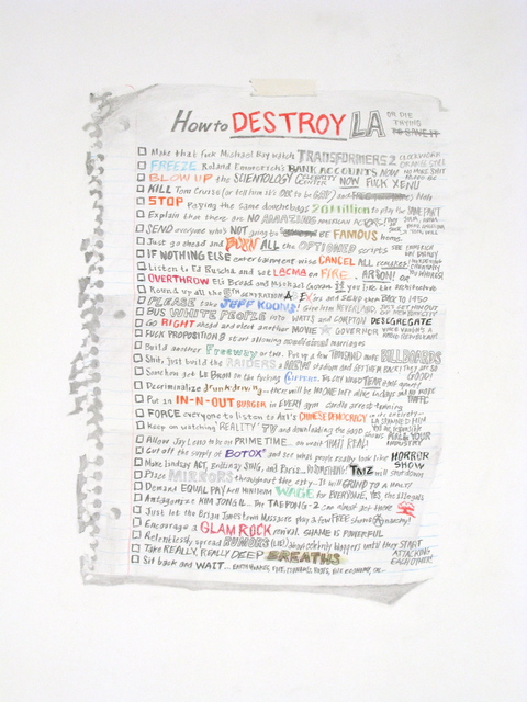 William Powhida, 'How to Destroy LA', 2012, Drawing, Collage or other Work on Paper, Archival Pigment Print, Charlie James Gallery