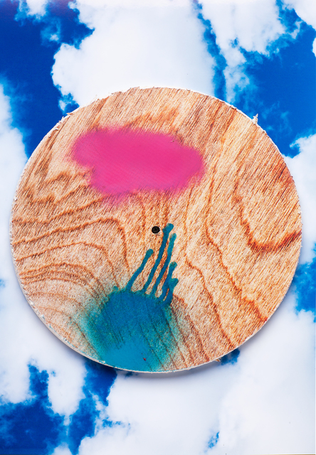 , 'wood circle on inkjet clouds,' 2013, Erin Cluley Gallery