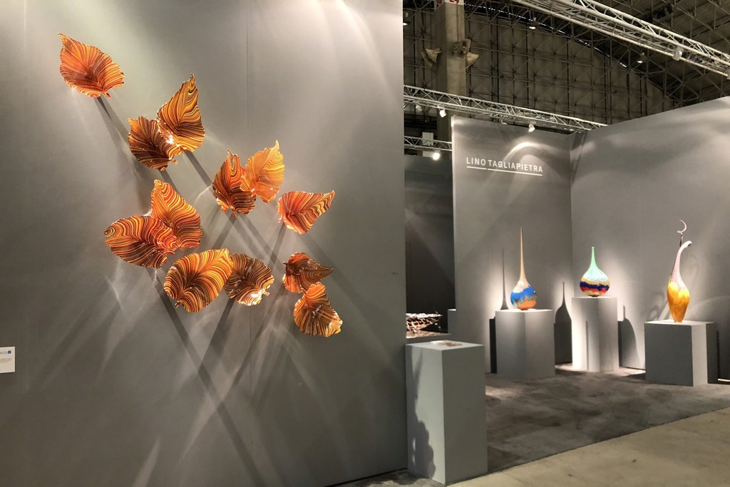 Autumn leaves seem to float gracefully up the wall. These twelve vibrant glass leaves are quite large. Lino created these this past summer for Schantz Galleries to exhibit at this years SOFA Chicago exhibition.  He envisions a wall with perhaps 4 times as many! Contact the gallery for more details.
