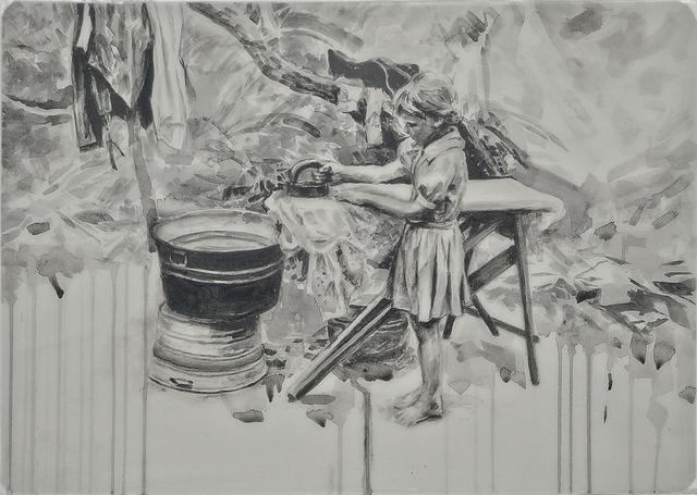 Hung Liu 刘虹, 'Ironing 1/3', Print, Mixed media and resin on panel, Gail Severn Gallery