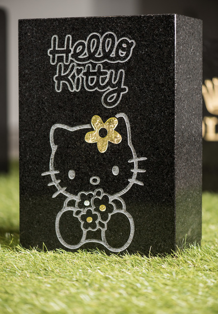 Jani Leinonen, 'Death of Hello Kitty', 2013, Sculpture, Sand blowing, leaf gold and silver on black granite, Zetterberg Gallery