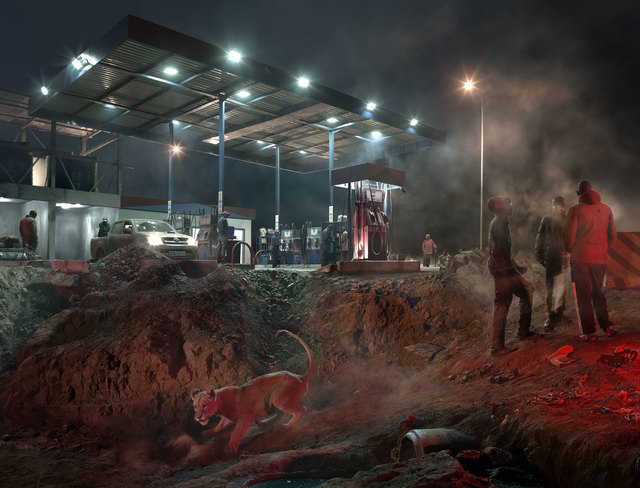 , 'Petrol Station with Lioness,' 2018, Fahey/Klein Gallery