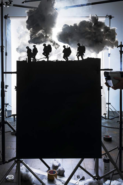 ", 'Making of ""Five Soldiers Silhouette at the Battle of Broodseinde"" (by Ernest Brooks, 1917),' 2013, East Wing"