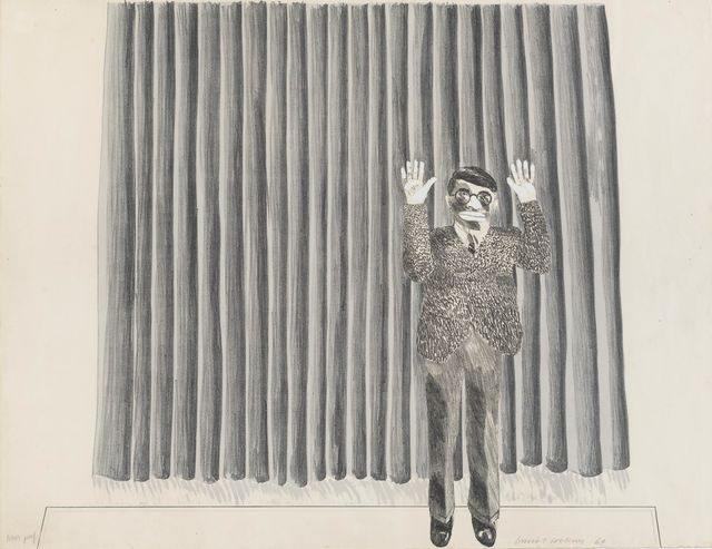 David Hockney, 'Figure By Curtain', 1964, Print, Lithograph - signed & numbered AP, Frestonian Gallery