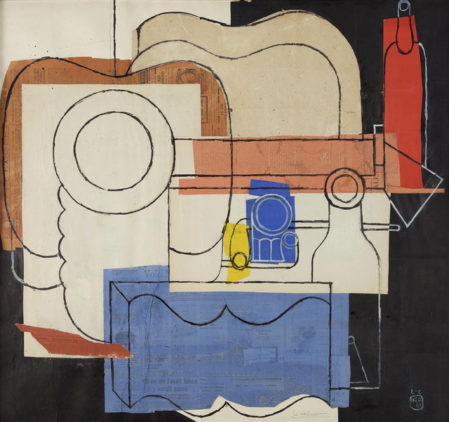, 'Still Life with guitar, pile of plates, an open book, pipes, bottles and glasses,' 1961, MARUANI MERCIER GALLERY