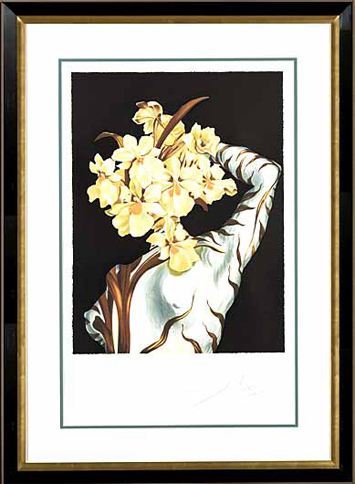 ", '""Surrealist Flower"" Hand Signed Salvador Dali Lithograph,' 1941-1957, Elena Bulatova Fine Art"