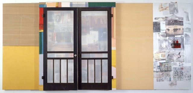 Robert Rauschenberg, 'Whistle Stop (Spread)', 1977, Solvent transfer, fabric and paper collage, screen doors, and train signal light on wood support, Robert Rauschenberg Foundation