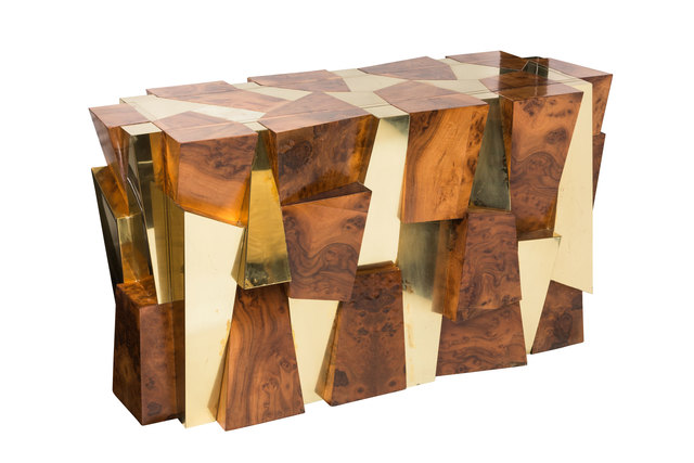 , 'Rare Cityscape Burlwood and Brass Console by Paul Evans for Directional,' ca. 1970, On Madison