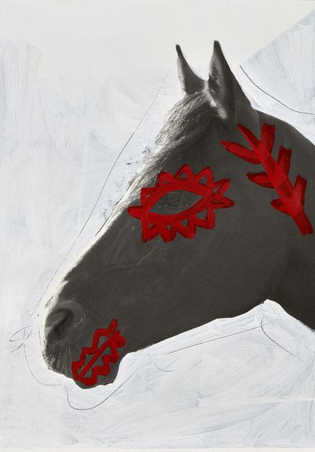 Giuseppe De Mattia, ' Decorations for War Horses #3, Bologna ',  2019 , Mixed Media, Xerox print, acrylic on 100 % cotton paper, Matèria