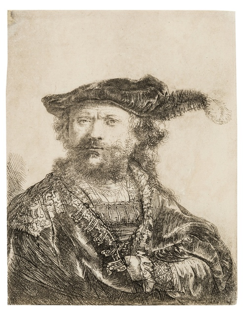 Rembrandt van Rijn, 'Self-portrait in a Velvet Cap with Plume', 1638, Print, Etching with delicate plate tone, Forum Auctions