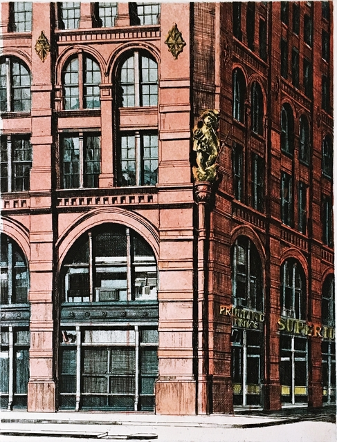 Richard Haas, 'Puck Corner, SOHO, New York', 1971, Print, Etching and Aquatint. Hand Signed. Numbered. Unframed in white matting, Alpha 137 Gallery
