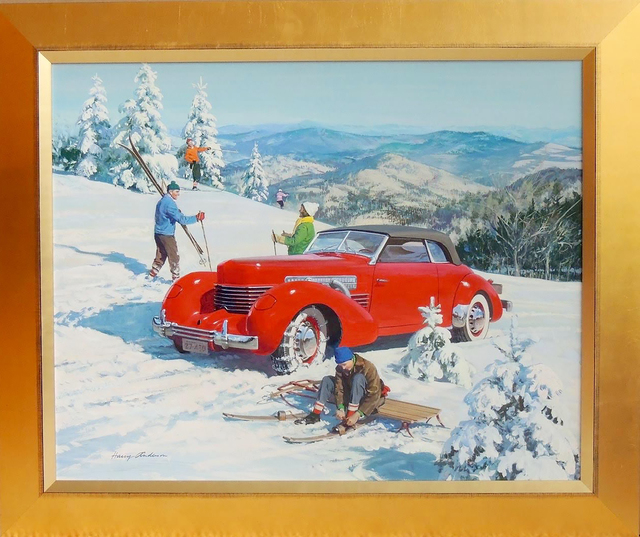 Harry Anderson, 'Pioneer American Skiers, 1937 Cord, Great Moments in Early American Motorin', 1937, The Illustrated Gallery