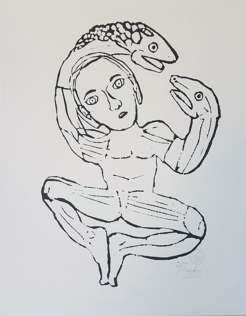, 'Man with Snake Puppet Hands ,' 2002, The Good Luck Gallery