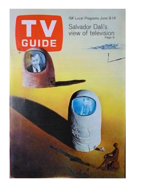 """Salvador Dalí, '""""Salvador Dali's View on Television"""", 1968, TV GUIDE, Article: """"He Prefers to Watch TV Upside Down"""", Complete with all Listings, with NO mailing label. RARE.', 1968, VINCE fine arts/ephemera"""