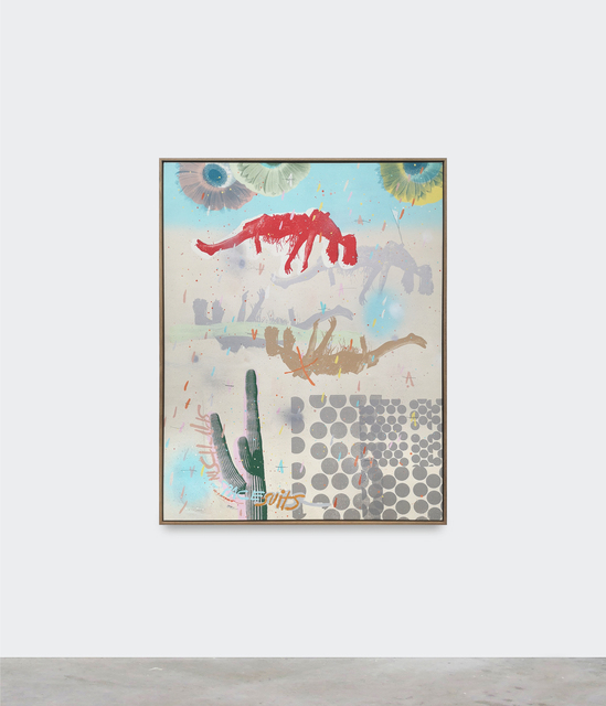Thomas Campbell, 'Spansheena', 2021, Painting, Acrylic, pencil, silkscreen and spray pain on canvas in handmade floating oak frame, V1 Gallery