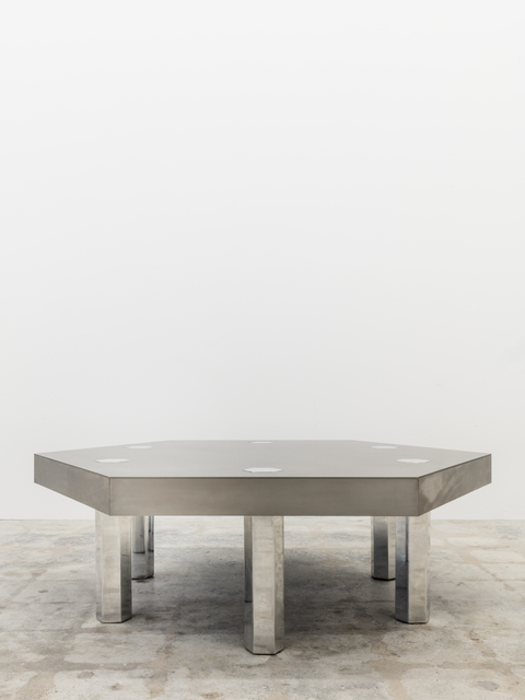 , ' Hex, Titanium Blue Table,' 2008, Tile Blush