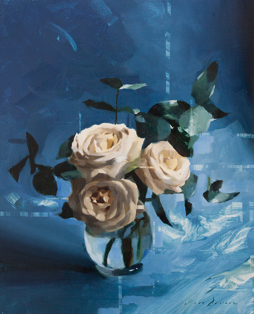 , 'White Roses and Blue,' 2018, Abend Gallery