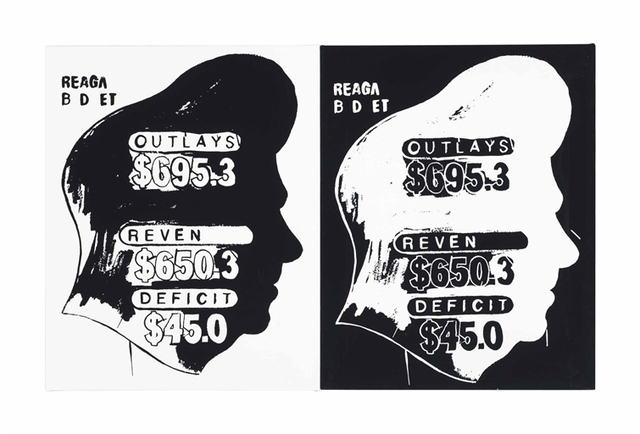 Andy Warhol, 'Reagan Budget (Positive and Negative)', Two elements--synthetic polymer and silkscreen ink on canvas, Christie's