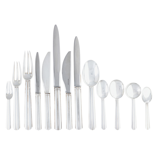 Jean E. Puiforcat, 'Fine and rare 278-piece sterling silver nine-piece Biarritz flatware set for twenty-four with 15 tablespoons, 23 soup spoons, and 23 serving pieces, France,', Rago