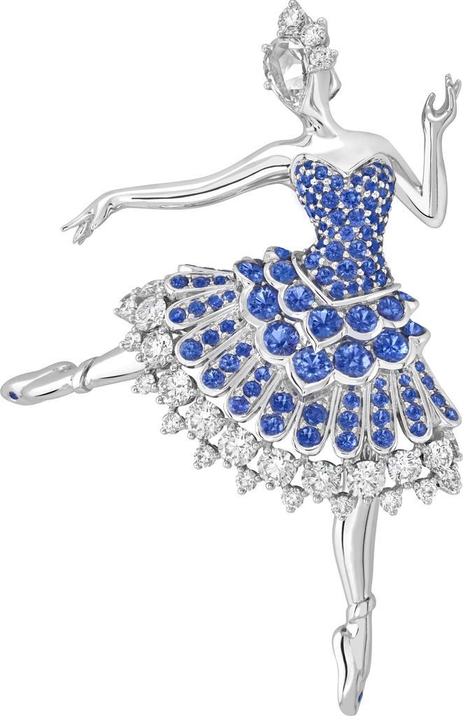 Cardinal bleu ballerina clip, 2020. White gold, sapphires, diamonds. Unique piece. High Jewelry Collection.