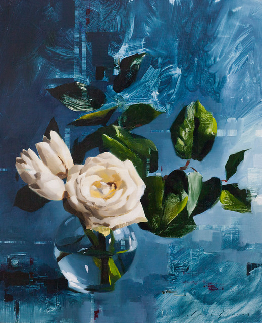 , 'Tulips and Rose on Blue,' 2018, Abend Gallery