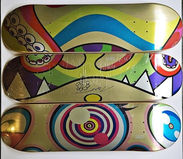 Takashi Murakami, 'Original signed Flower Drawing on skateboard,  Set of three (3)', 2017, Alpha 137 Gallery Auction