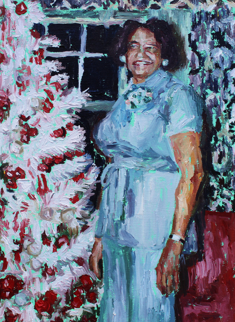 , 'This artwork is designed to make you feel hyper-aware of the texture of that turquoise pantsuit (and it will haunt you forever).,' 2019, 99 Loop Gallery