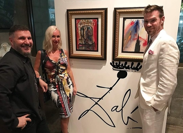 """, 'Our hosts and curator with Dali's original """"Romeo & Juliet #9"""" and Romeo & Juliet #10"""",' ca. 1967, Robin Rile Fine Art"""