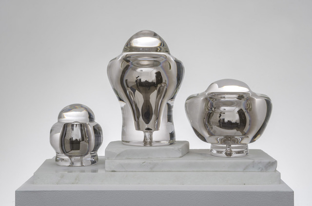 Manny Krakowski, 'Three Trophy Cups', 2015, Sculpture, Hand blown glass, chemical composite, hand sanded marble, Edward Cella Art and Architecture