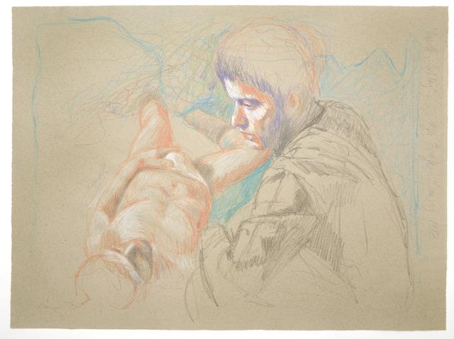 """, 'Mann mit weißem Slip auf dem Bett, der andere sitzt daneben (""""Querelle""""-Zyklus),' 1982, Galerie Kornfeld"""