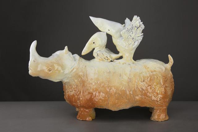 , 'Glazed terracotta figure of a Rhino with a Pelican,' 2012, Brun Fine Art