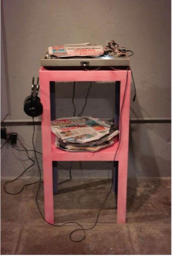 , 'Newspaper Turntable,' 2016, REM Project