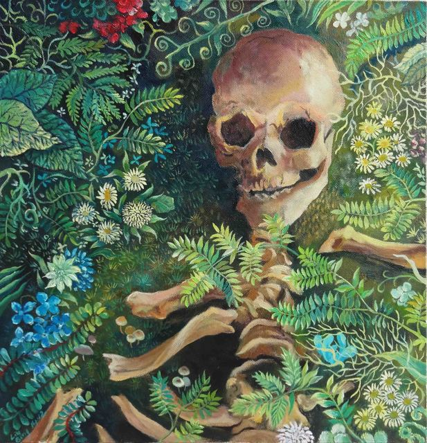 , 'Skull in Grass,' 2014, Line Gallery