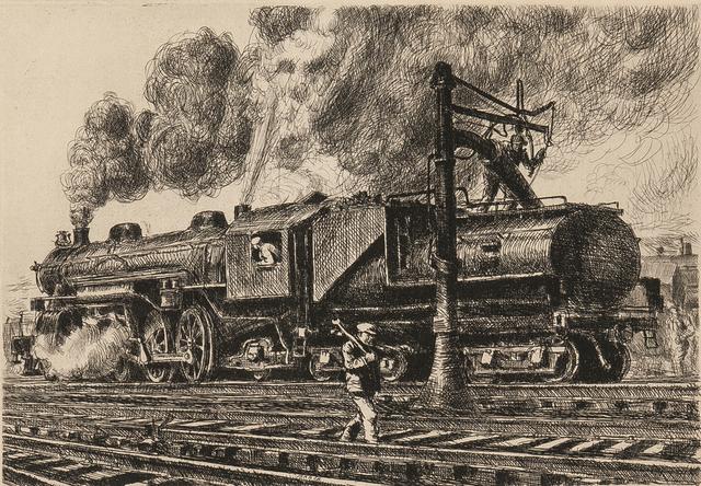 Reginald Marsh, 'Loco - Erie Watering', 1929, Skinner