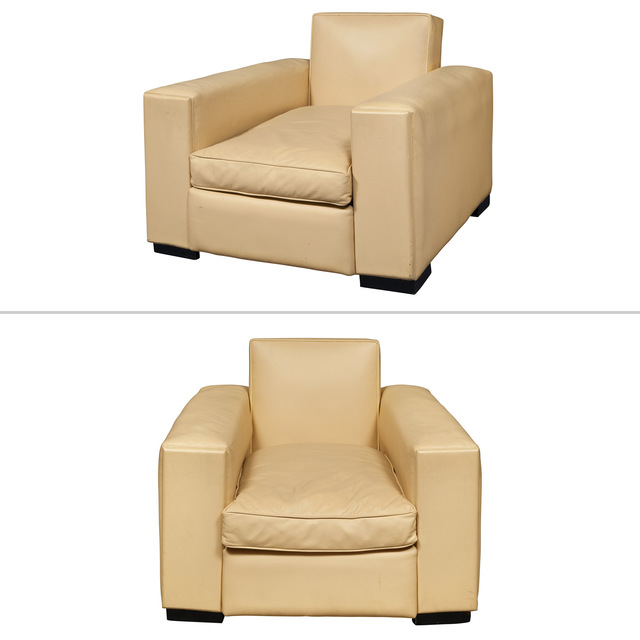 'Pair of Art Deco Style Leather Upholstered Club Chairs', Doyle