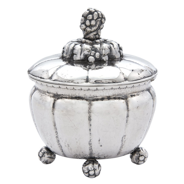 'Georg Jensen Sterling Silver Covered Footed Bowl Pattern no. 72', 1918, Doyle